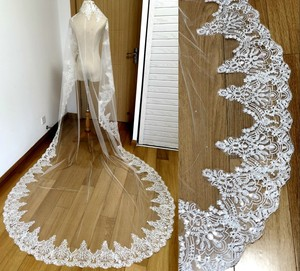 Image 3 - Real Photos 2018 White/Ivory Wedding Veil 3M With Comb Lace Beads Mantilla Bridal Veil Wedding Accessories Veu De Noiva MD47