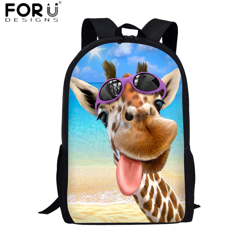 FORUDESIGNS Fashion Kids School Bags Funny Selfie Giraffe Pattern School Backpacks for Girls Boys Orthopedic Schoolbags Softback(China)