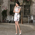 High Quality Silk Female Cheongsam Women Chinese Traditional Dress Short Summer Satin Classical Style Women Qipaos Mini Dress 18