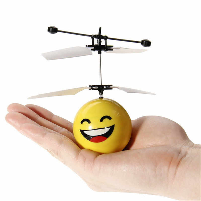 Mini Drone Hand Induction Flying Ball Anti-stress Drone Facial Expression Flying  Toy Funny RC Helicopter Aircraft For Kids Gift