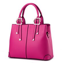цена на Fuchsia Fashion PU Women Shoulder Bag Elegant Office Lady Handbag Festival Gift Casual Clutch Tote