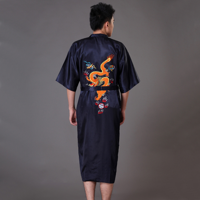 Hot New Black Men's Silk Satin Kimono Bath Robe Gown Chinese Style Handmade Embroidery Dragon Sleepwear S M L XL XXL XXXL MP046