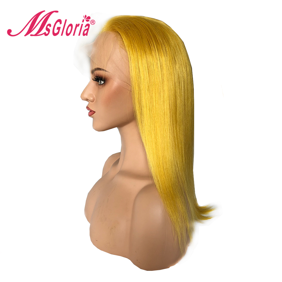 Msgloria Peruvian Straight Pre Plucked Lace Front Wigs Remy Hair Blonde Yellow Human Hair Lace Wigs