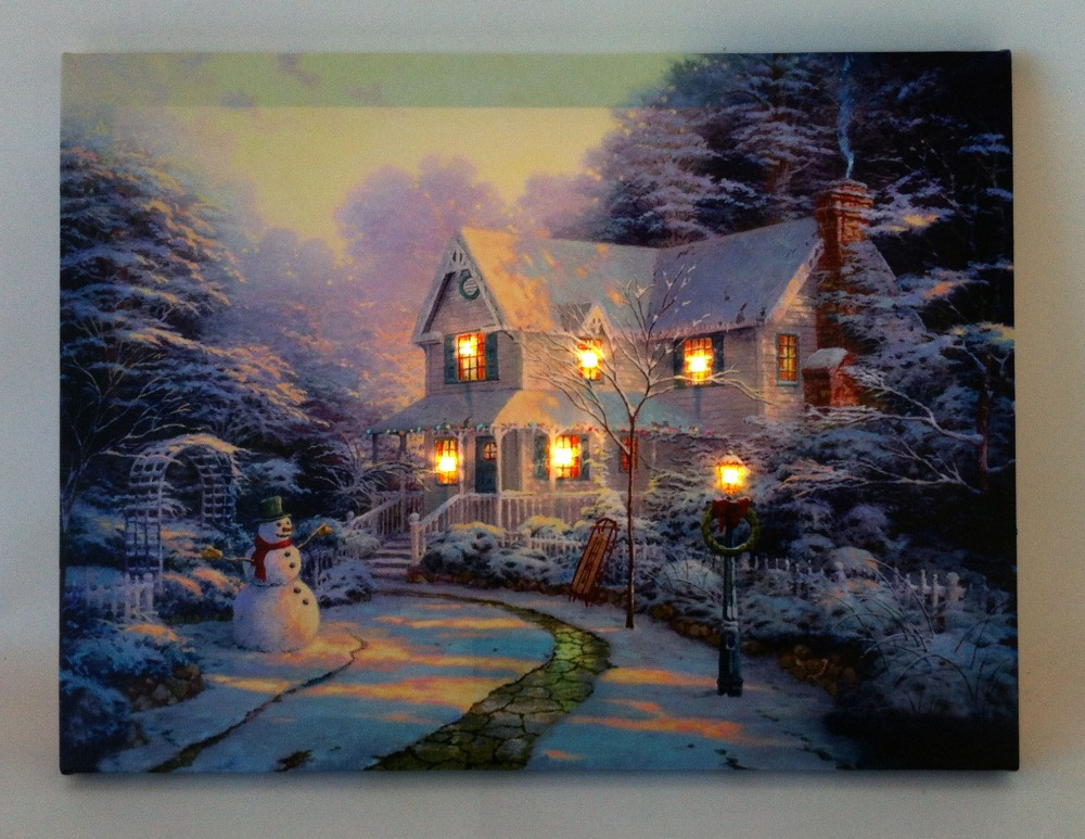 6 led lights wall art canvas paintings light up stretched for How to light a painting on the wall