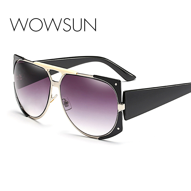 Wowsun 2017 Newest Sunglasses For Women Half Frame Double Nose Bridge Sun Glasses -8479