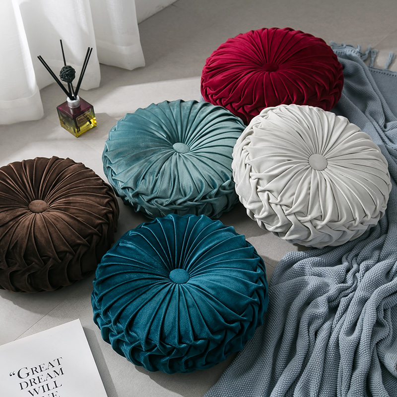 Fashion Super European Luxury Velvet Throw Pillow Cushion Round Fabric Handmade Pleated Wheel Pumpkin Seat Cushion title=