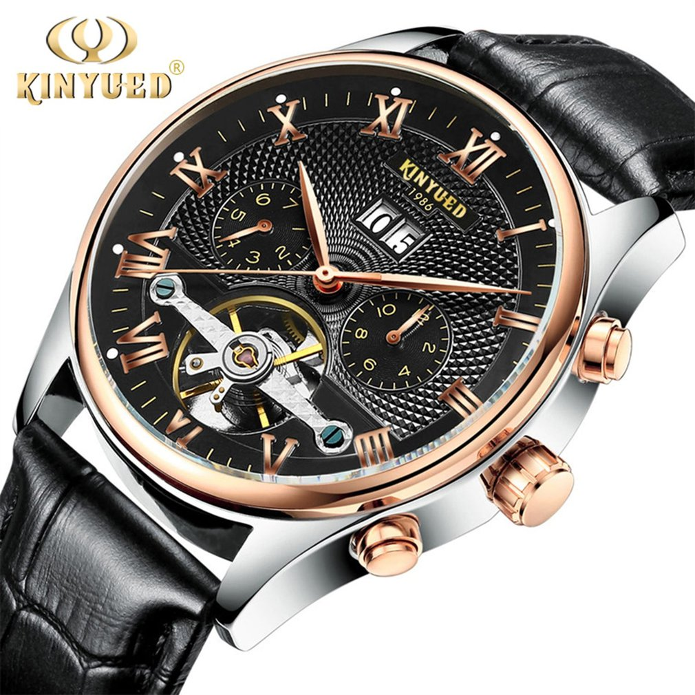 KINYUED Skeleton Tourbillon Automatic Men Mechanical Watch Classic Rose Gold Leather Wrist Watches Reloj Hombre with Gift Box unique smooth case pocket watch mechanical automatic watches with pendant chain necklace men women gift relogio de bolso