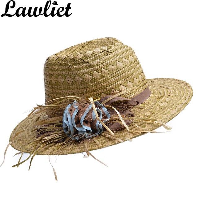 e05e14bc70425 Tecido Tropical Sabor Natural Chapéu de Palha Velejador Chapéu Aba Larga  Das Mulheres Cap Senhora Anti