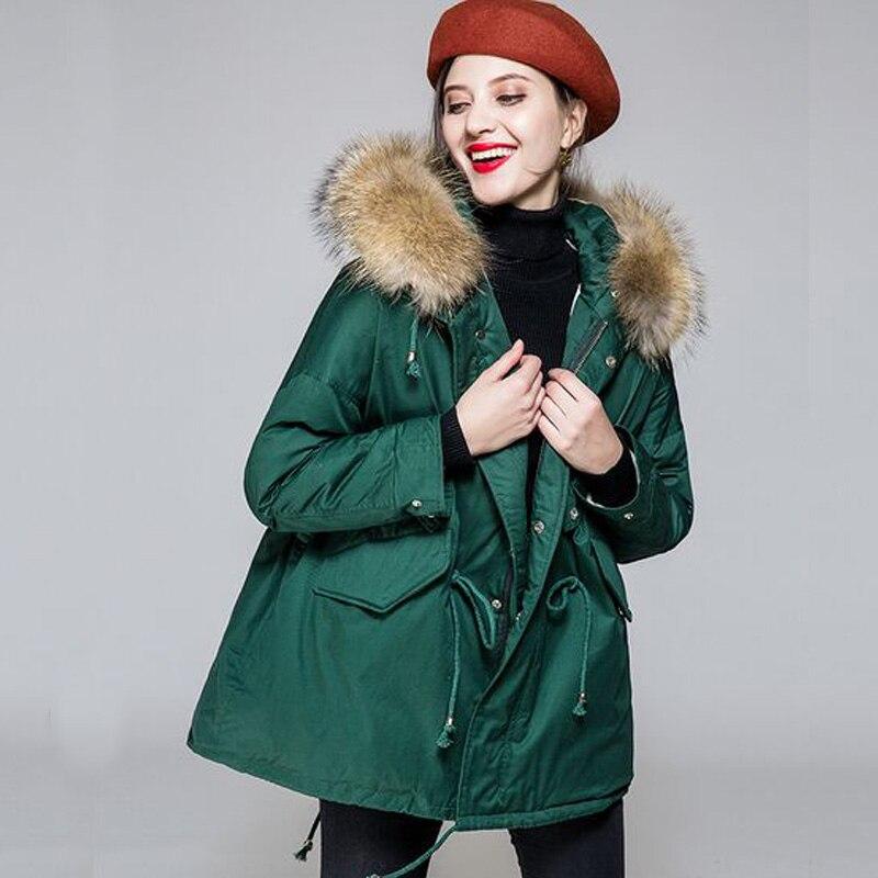 Laveur Canard Parkas Épais Hiver Mode Femelle noir Taille blanc Nouvelle Réel Plus Manteau Femme Green dark Beige Raton Fourrure vert rouge De Naturel 2018 Blanc Veste Duvet La qRqzWZIOaw