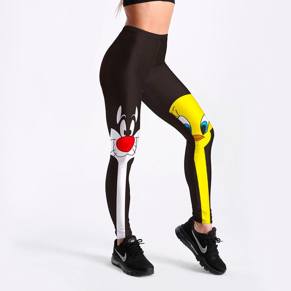 Leggings 2018 Drop Shipping Fitness Pants Women Lovely Cartoon Cat and Duck Printed Women Cute Comic Casual Leggings
