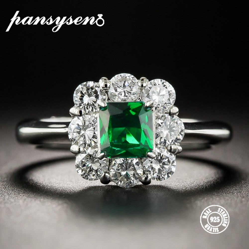 PANSYSEN 2019 New Fashion Silver 925 Jewelry Emerald Rings For Women Gemstone Wedding Engagement Ring Wholesale Gifts Size 6-10