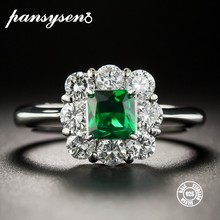 PANSYSEN 2019 New Fashion Silver 925 Jewelry Emerald Rings For Women Gemstone Wedding Engagement Ring Wholesale Gifts Size 6-10(China)