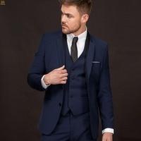 New Arrival Groom Tuxedo Navy Blue Groomsmen Notch Lapel Wedding/Dinner Suits Best Man Bridegroom (Jacket+Pants+Tie+Vest) B513