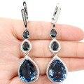 Long Drop Gemstone 20x15mm London Blue Topaz Drop, White CZ Created SheCrown Woman's   Silver Earrings 72x18mm