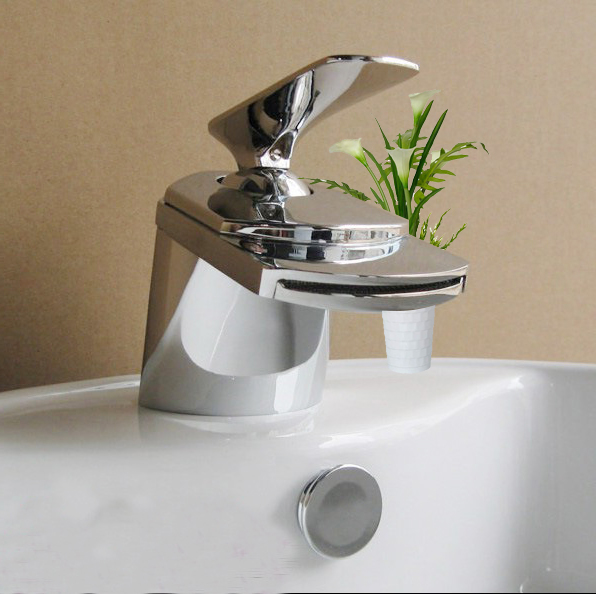 new style waterfall bathroom faucets brushed nickel vessel lavatory one holehandle tap bathroom accessories