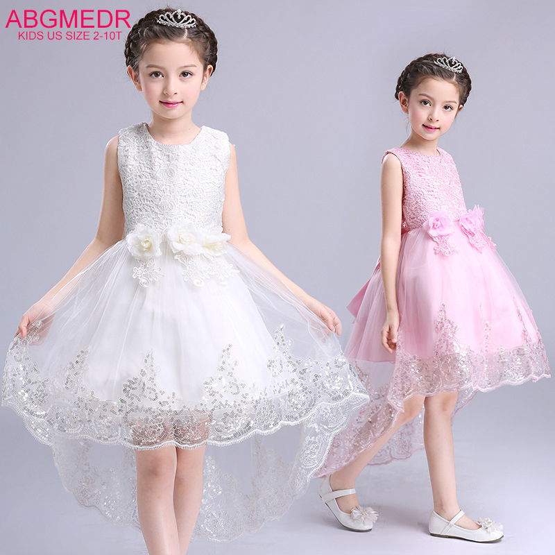 ABGMEDR Brand Princess Flower Girl Dress for Wedding and Party Girls High Low Dress with Trais Kids First Communion Dress high grade princess wedding dress europe and america flower girl dress for girls white for 0 12 yesrs