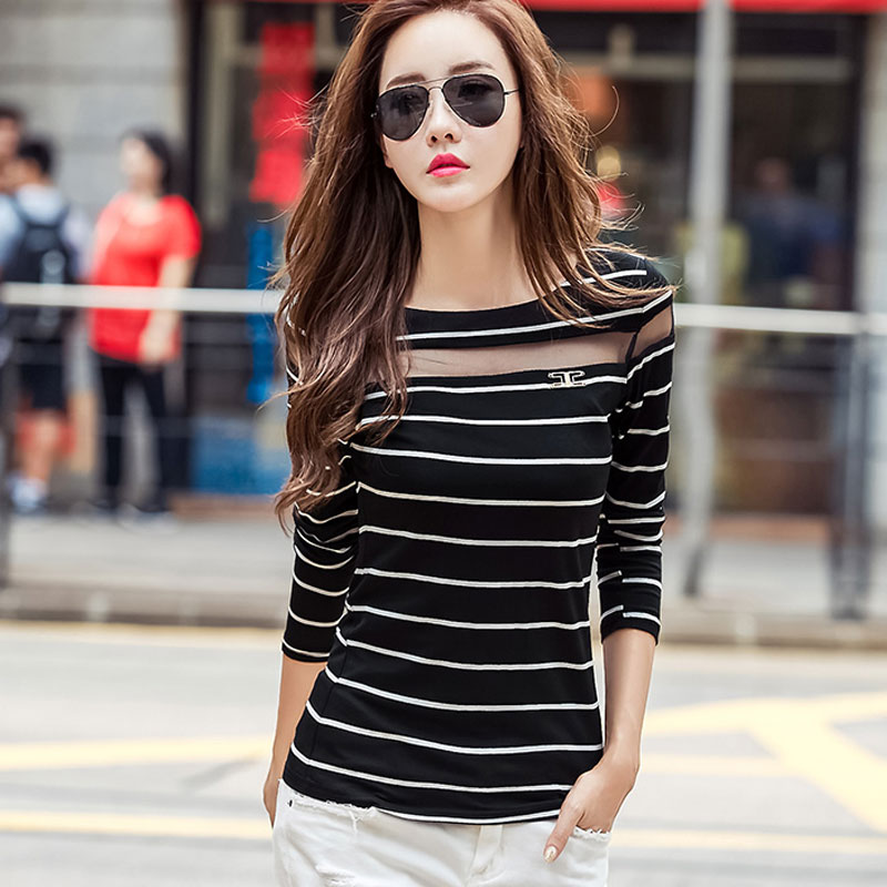 ece326329 Large Size XXL Hollow Out Long Sleeve Black White Striped T Shirts Women  Fashion Tops Tees Sexy Mesh T-Shirt For Women Tops