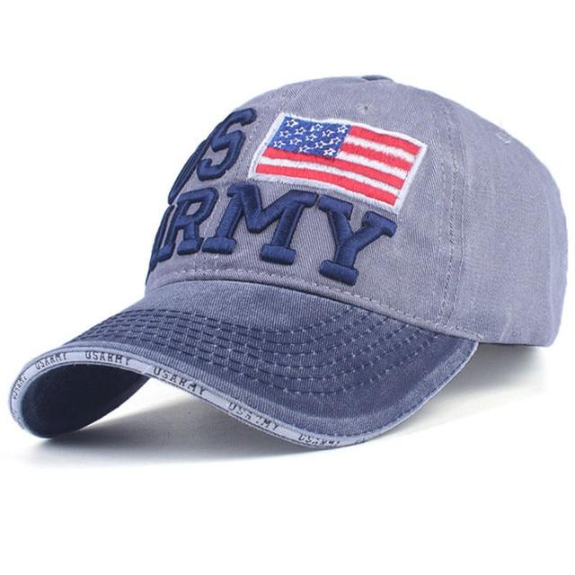 US ARMY Embroidery Baseball Cap Fashion Brand Faded Dad Cap Curve Brim Ball  Hat for Outdoor Sports Popular Flag Strapback Hat 86af2990b2c8