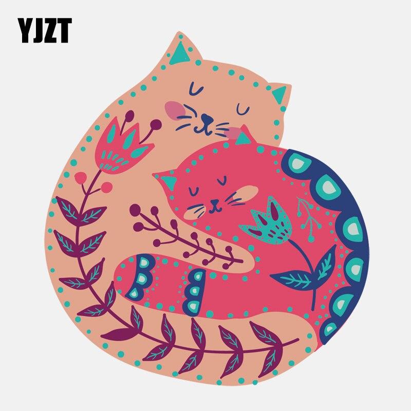 YJZT 13.4CM*14.6CM Cat Hugging And Sleeping Together PVC Car Sticker 11-01171