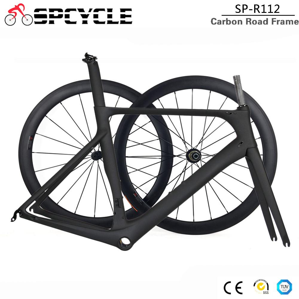 Spcycle 2019 New Aero Full Carbon Road Bike Frame & Wheels T1000 Carbon Racing Bicycle Frameset With 50mm Wheelset BB86