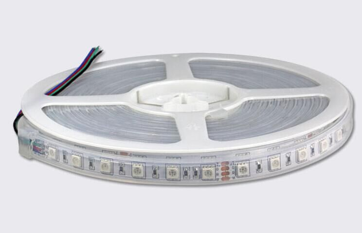RGB color DC24V LED strip 5050 SMD flexible light 60LED/m,5m 300LED,waterproof silicon tube;IP66 soccer-specific stadium