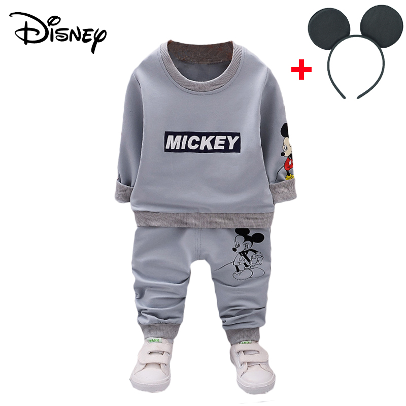 HTB10ceTXZnrK1RjSspkq6yuvXXaC - Disney Mickey Boy Clothes Cartoon Bear Long Sleeved T-shirt Tops Pants Baby Girl Outfits Infant Clothing Kids Bebes Jogging Suit