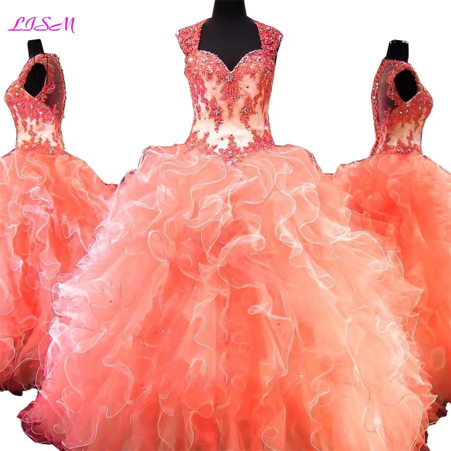 LISM Sweetheart Appliques Bead Long Prom Dresses Long Organza Sweet 16 Dresses Party Dress Sheer Back Ball Gown Bridesmaid Dress