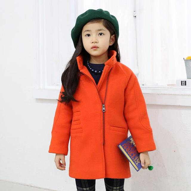 Fashion Winter Girls Wool Coat Solid Color Orange Casual 3-12 Years children's Winter Jackets 2017 Kids Girls Clothes SKC156013