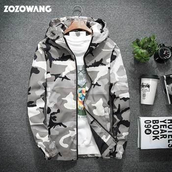 ZOZO 2020 New Military Camouflage Jacket Men Long Sleeve Hooded Jacket Hip Hop Streetwear Classic Casual Jacket Plus Size XS-5XL
