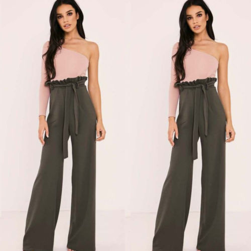 Uk 2018 New Fashion Hot Sexy Womens Casual Loose Stretch High Waist Wide Leg Long Pants Striped Trousers Bottoms Pants & Capris