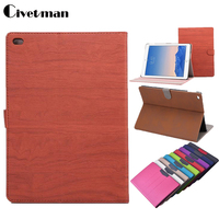 Original Luxury Wood Grain Flip Ultra Thin Foldable Stand Leather Case Smart Cover For Ipad Air