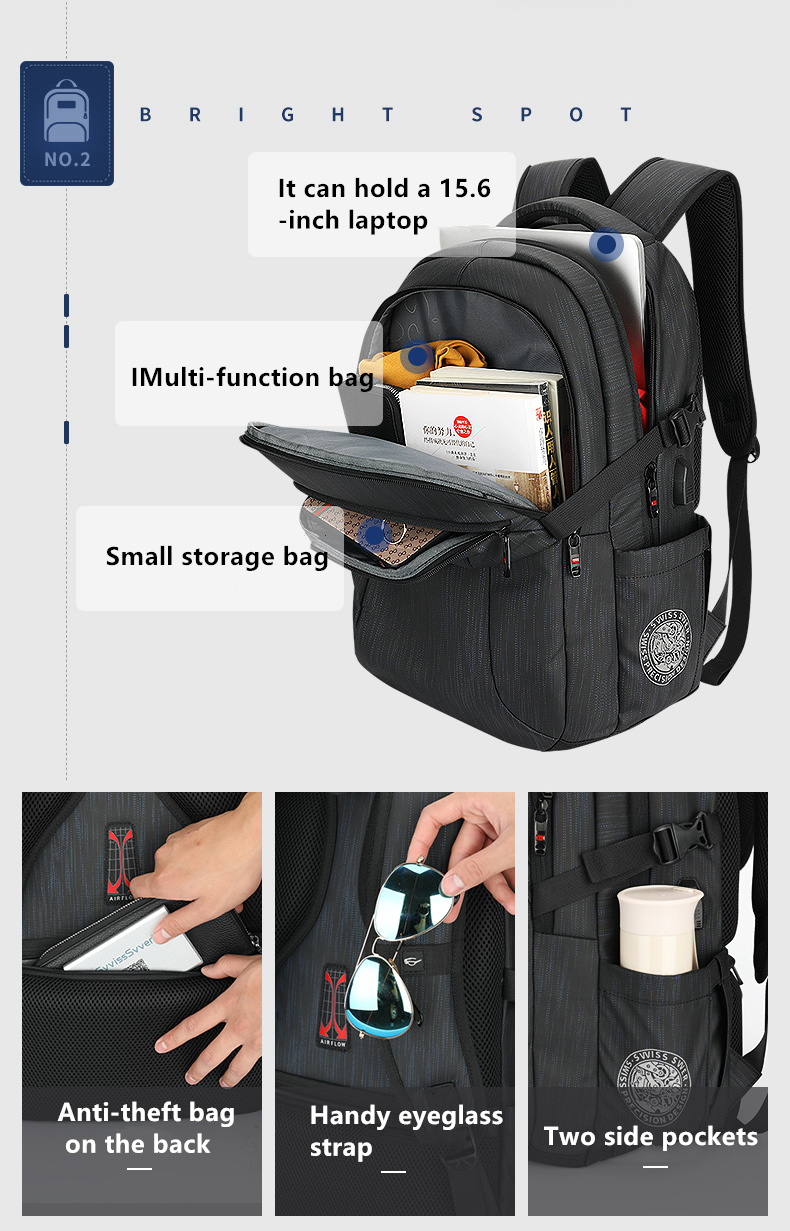Trend Black Outdoor Reise Usb Männlichen Große Männer Lade blue Tasche Herren Laptop Rucksack Kapazität Casual Business nqq6XUvwz