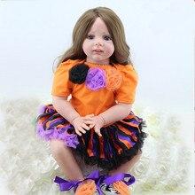 24inch Lifelike Soft Silicone Reborn Baby Dolls 60cm Handmade Silicone Reborn Princess Doll Gorls Toy Toddler Fridolin for Girls