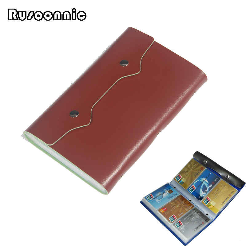 Rusoonnic Business Card Holder High Capacity 108 Card Slots Credit Cards Holders PU Leather Women Hasp Men ID Bag Cardholder