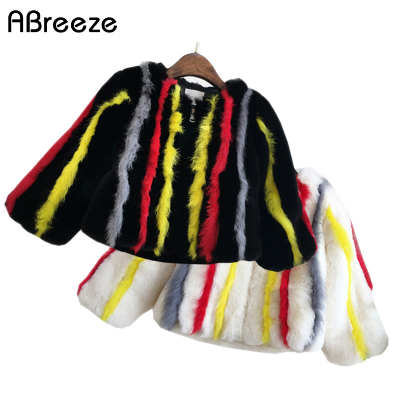 Autumn winter clothes children girls imitation rabbit plush color striped outerwear faux fur coat baby girls thick warm jackets color block thick striped sweater