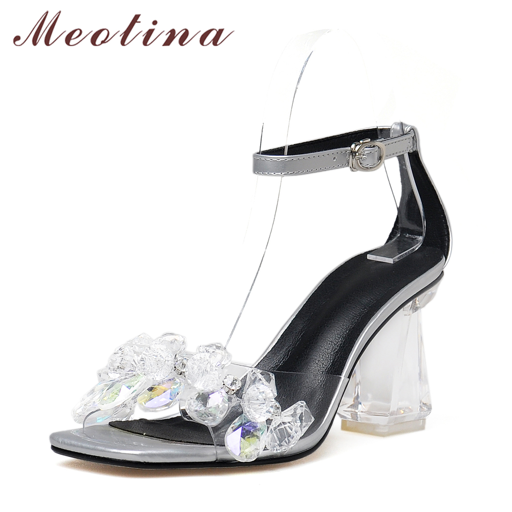 Sandals honeymoon shoes with rhinestone - Meotina Shoes Women Sandals Rhinestone Wedding Shoes Genuine Leather Sandals Bridal Party Shoes Ankle Strap High Heel Sandals