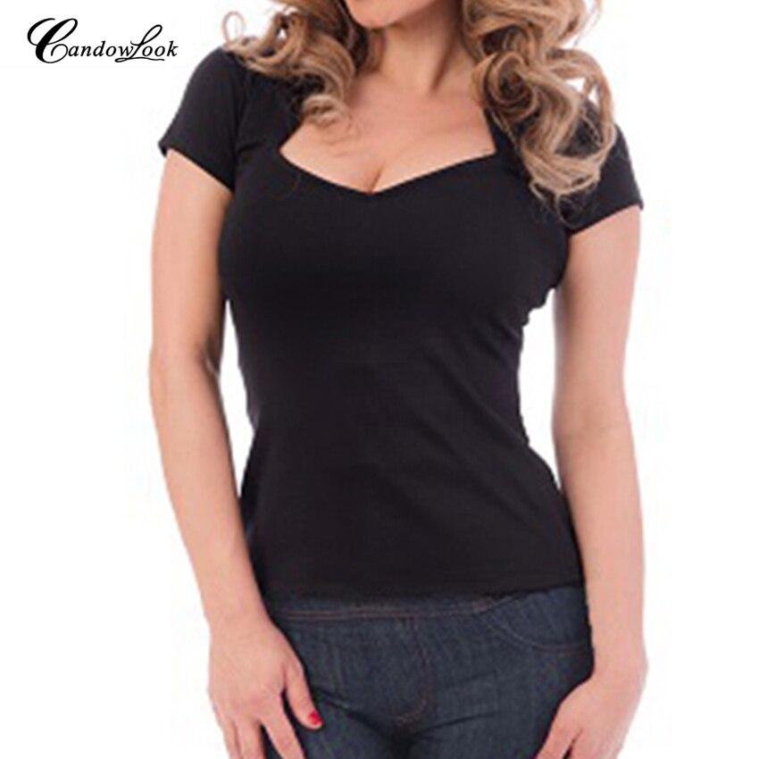 Candowlook mujeres sexy V cuello camiseta normal rockabilly punto elástico rojo negro señoras manga corta Camiseta casual camisetas