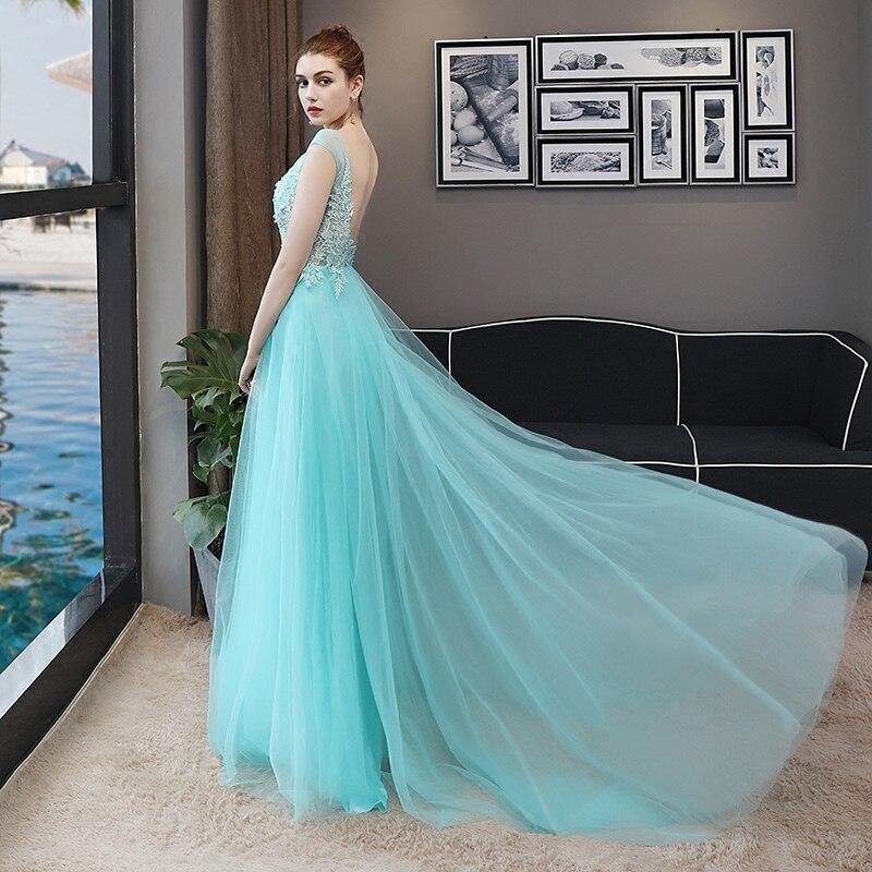 CEEWHY Robe de soirée bleu clair dos ouvert Robe de soirée Longue 2018 Robe de soirée élégante robes de soirée Longue Robe de Noiva - 2