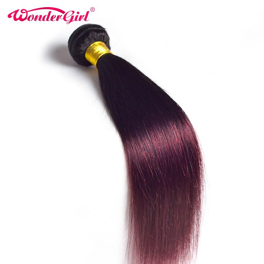 Wonder girl Ombre Brazilian Straight Hair 1B 99J/Burgundy Two Tone Human Hair Bundles 1PC Non Remy Hair Free Shipping