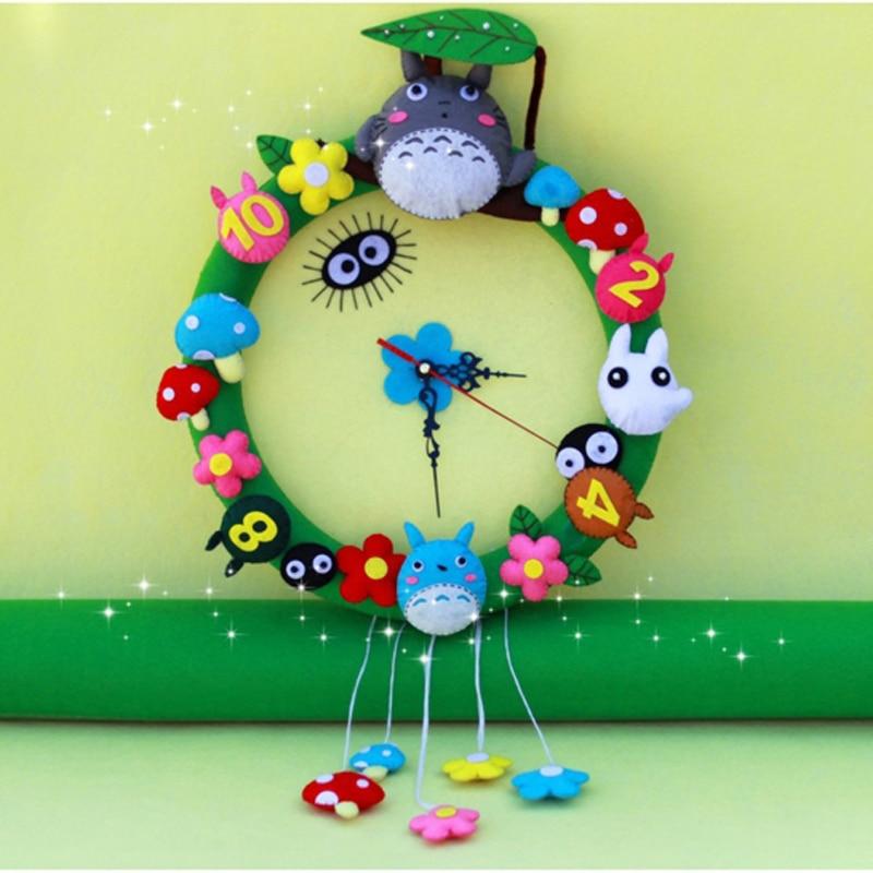 Felt-DIY-Craft-Cartoon-Totoro-Wall-Clock-Boy-Bedroom-Clock