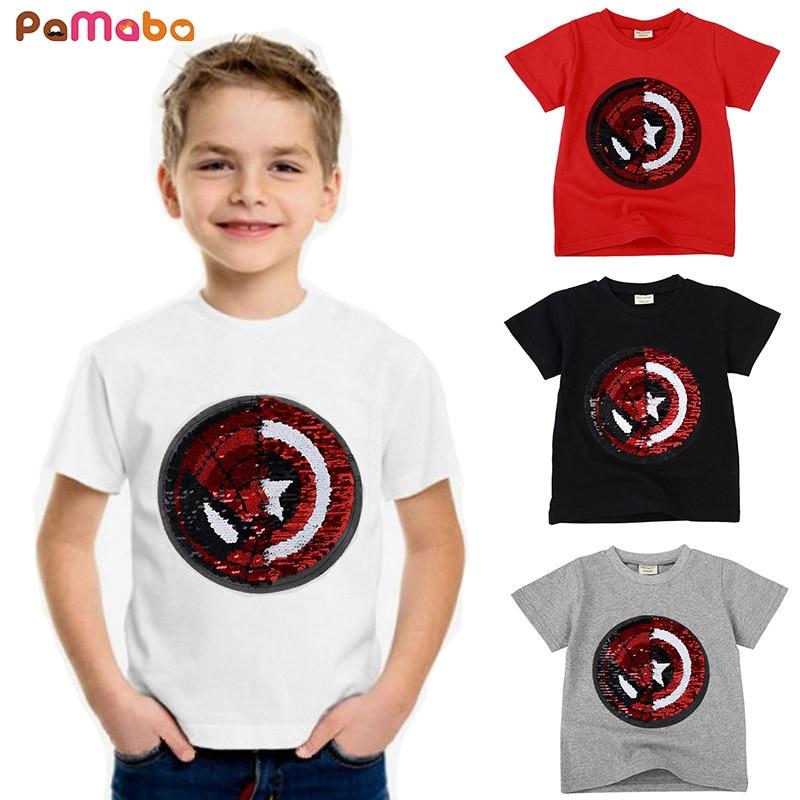 Pamaba Jungen Sommer Kleidung Superhelden T Hemd Reversible Pailletten Swithable Muster Kinder Spiderman Cartoon Tops Kind Lustige T Zu Verkaufen T-shirts