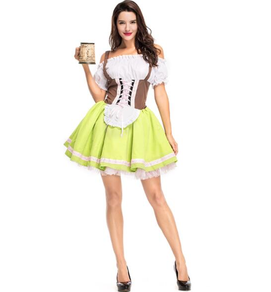 Germany Bavaria Oktoberfest beer festival work clothes Costume Halloween Carnival Party Cosplay Fancy shore dress A068