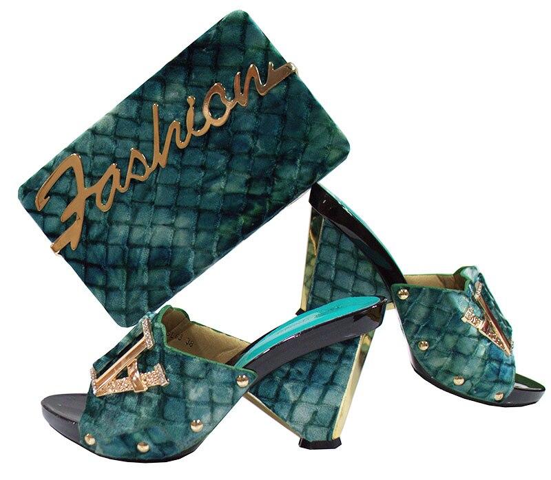 Высокий класс из флока сандалии обувь и комплект с сумкой красивые туфли-лодочки с сумочкой GL03 в цвета морской волны