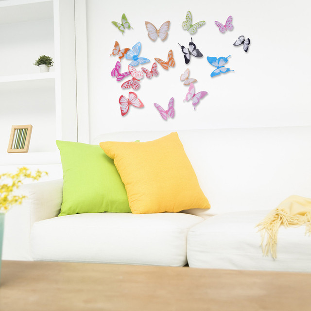 18Pcs Glint Wings 3D Butterfly Wall Stickers Home Decor PVC Wall ...