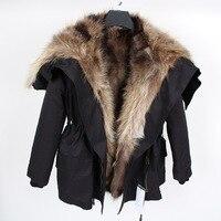 Новая зимняя модная Женская Роскошная Шуба из меха кролика большая парка с капюшоном из меха енота куртка бомбер