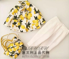 2016 Autumn Fashion Brand Lemon Peach Print Girls Clothes 2pc children clothing set flower button coat