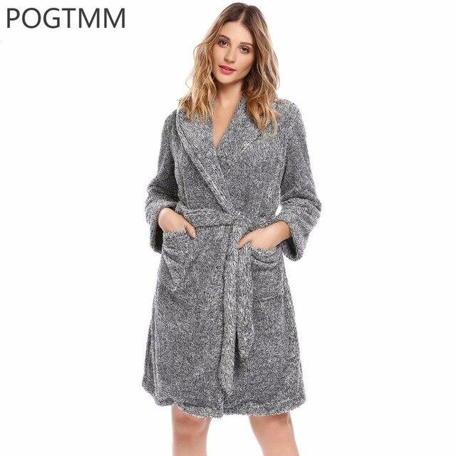d1bca38e43b4e Hiver Kimono Flanelle Peignoir Femmes Chaud Épaissir Spa Peignoir de Bain  De Nuit Femme Mariée Robe