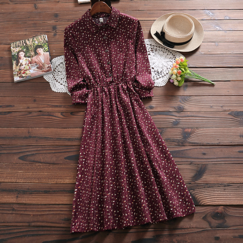 New Mori Girl Autumn Spring Women Long Dress Floral Print Casual Vintage Lady Midi Dress Elegant Kawaii Corduroy Chic Cute Dress girl