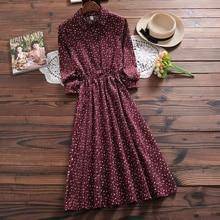 New Mori Girl Autumn Spring Women Long Dress Floral Print Ca