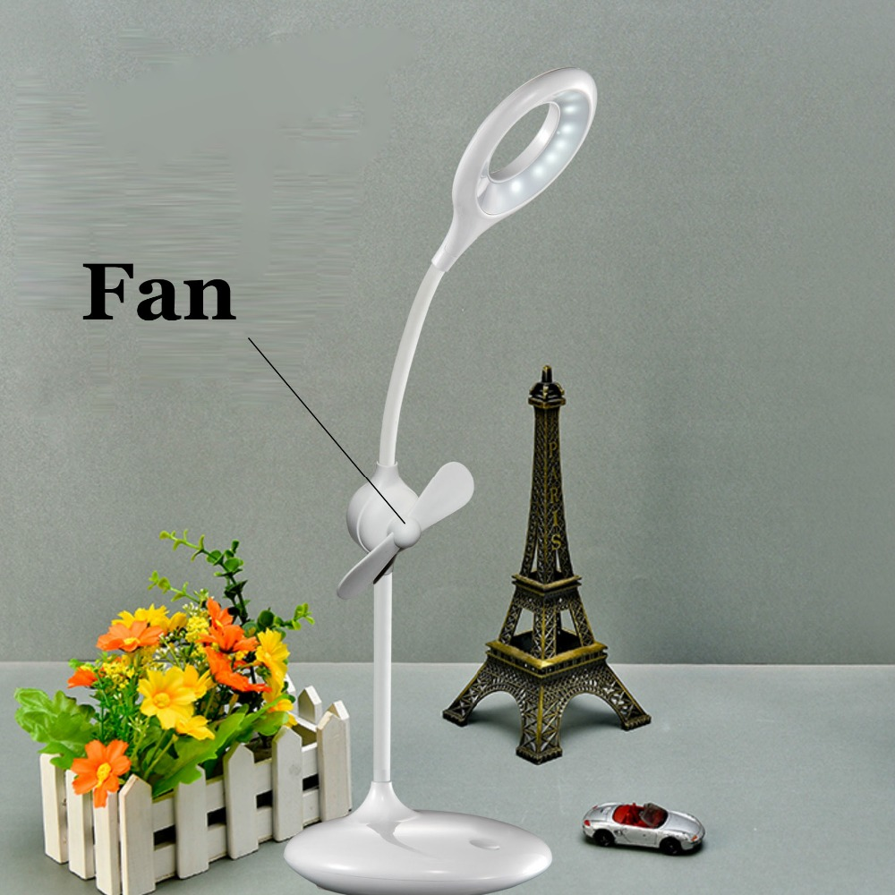2017 New Style USB LED Table Lamp Eye Protection with Mini Fan for Study Reading Children Desk Lights night light in Desk Lamps from Lights Lighting